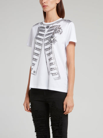 White Chain Embellished Printed Shirt