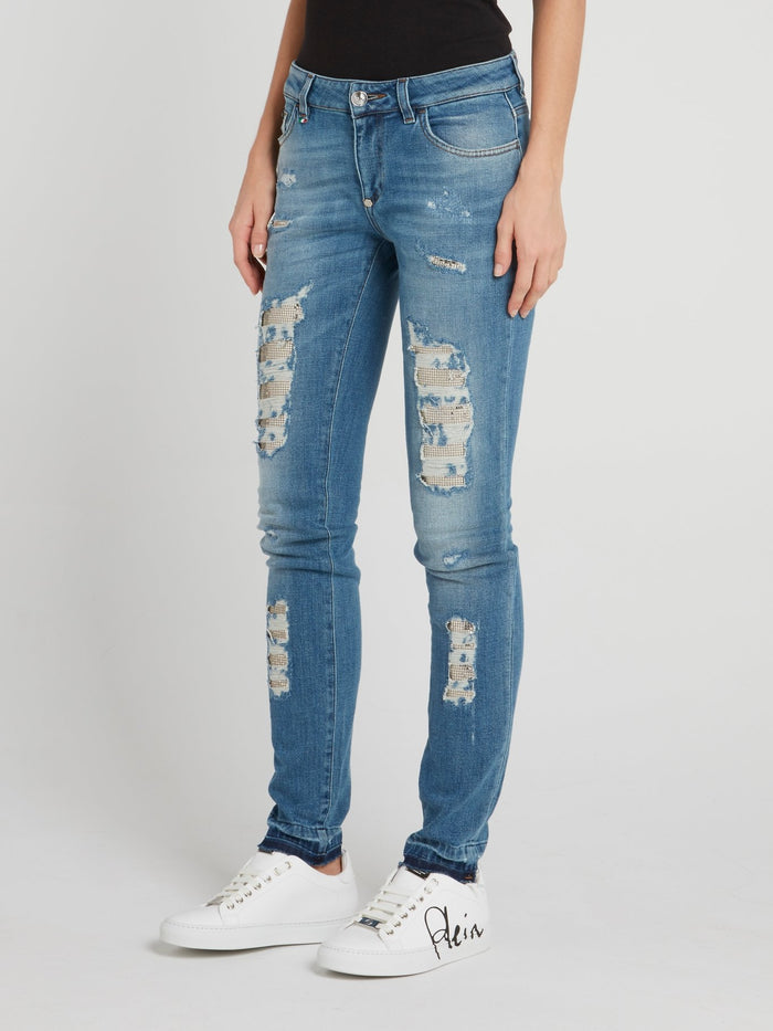Morgan Blue Distressed Skinny Jeans