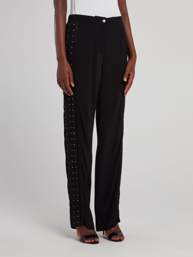 Black Side Studded Trousers