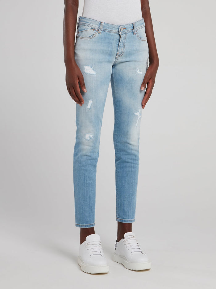 Acid Blue Distressed Jeans