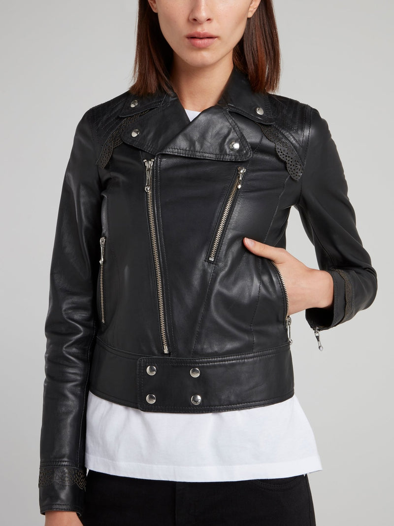 Cropped Leather Sports Jacket