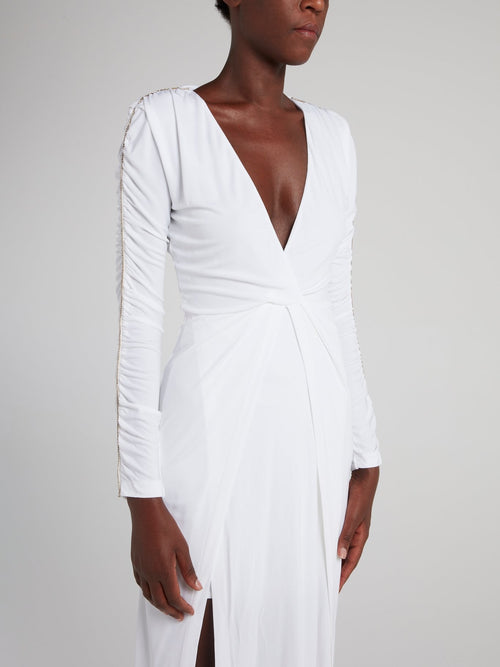 White Ruched Sleeve Maxi Dress