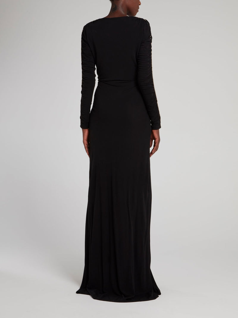 Black Ruched Sleeve Maxi Dress