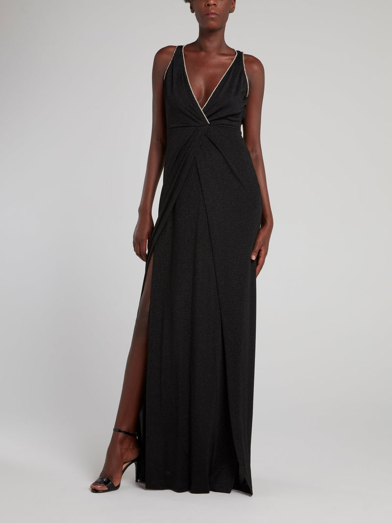 Black Glitter Slit Maxi Dress
