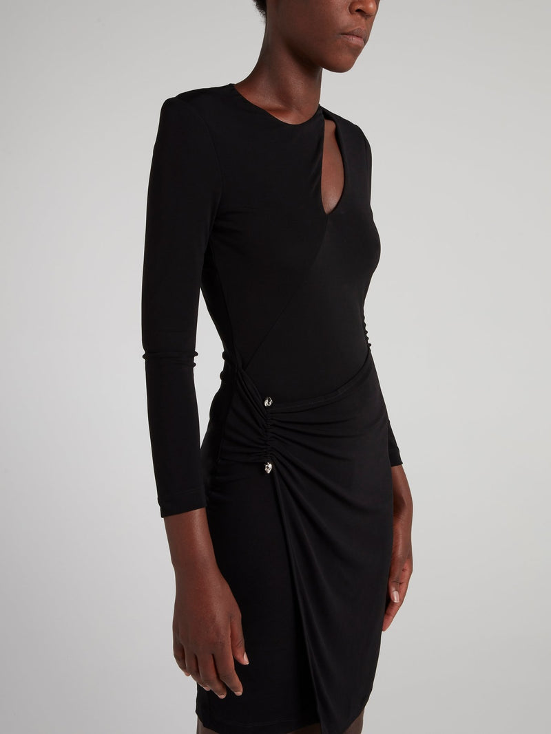 Black Draped Cut Out Dress