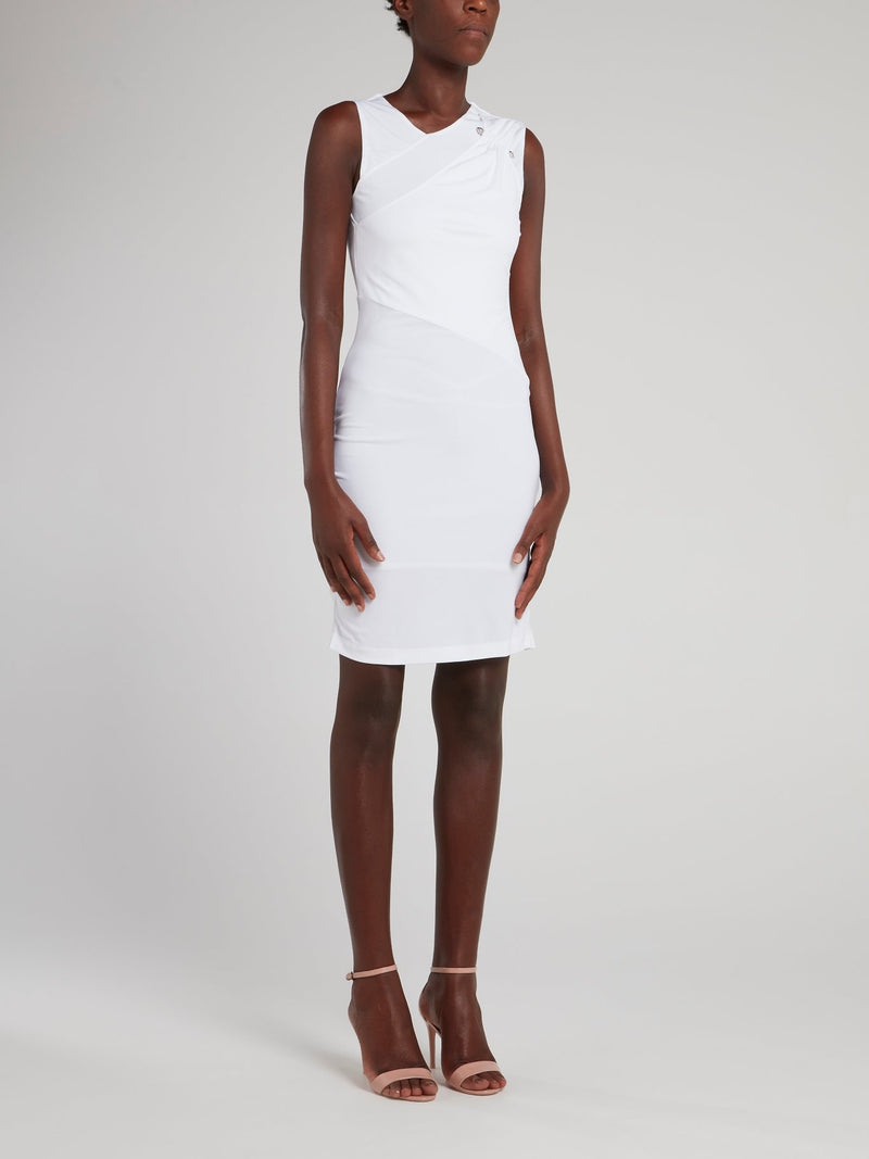 White Ruched Shoulder Sheath Dress