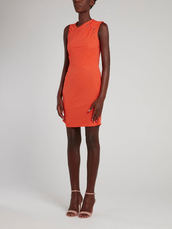 Orange Embellished Bodycon Dress