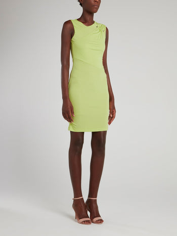 Chartreuse Ruched Shoulder Sheath Dress
