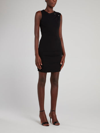 Black Ruched Shoulder Sheath Dress