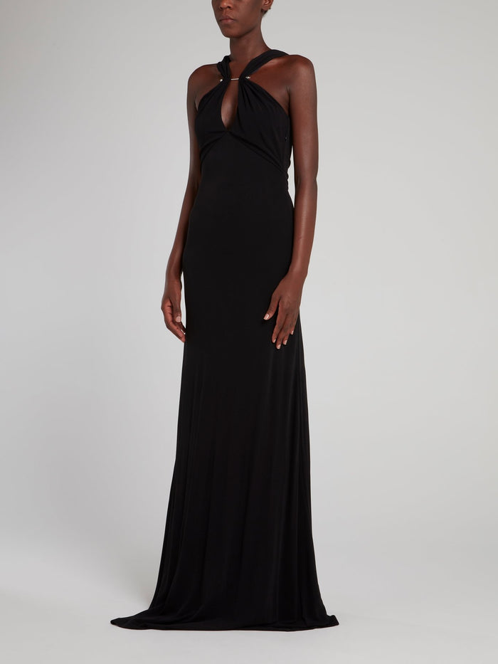 Black Embellished Evening Dress