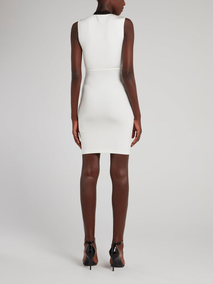 White Feather Detail Plunge Dress