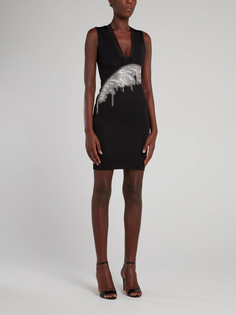 Black Feather Detail Plunge Dress