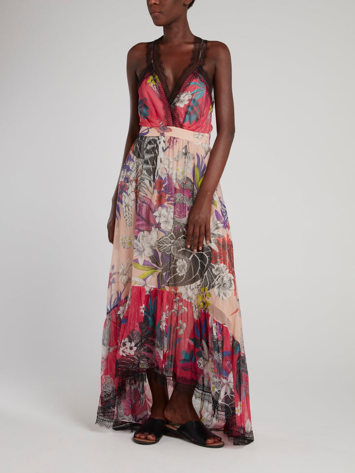 Lace Hem Tropical Maxi Dress
