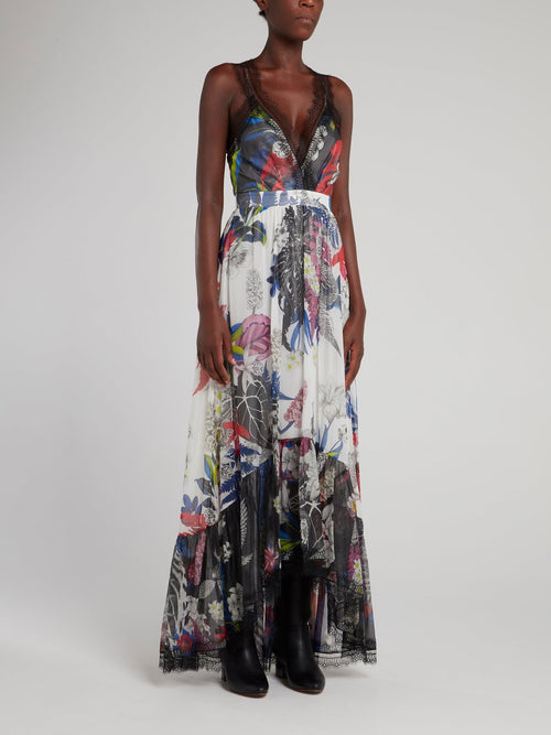 Lace Trim Tropical Maxi Dress