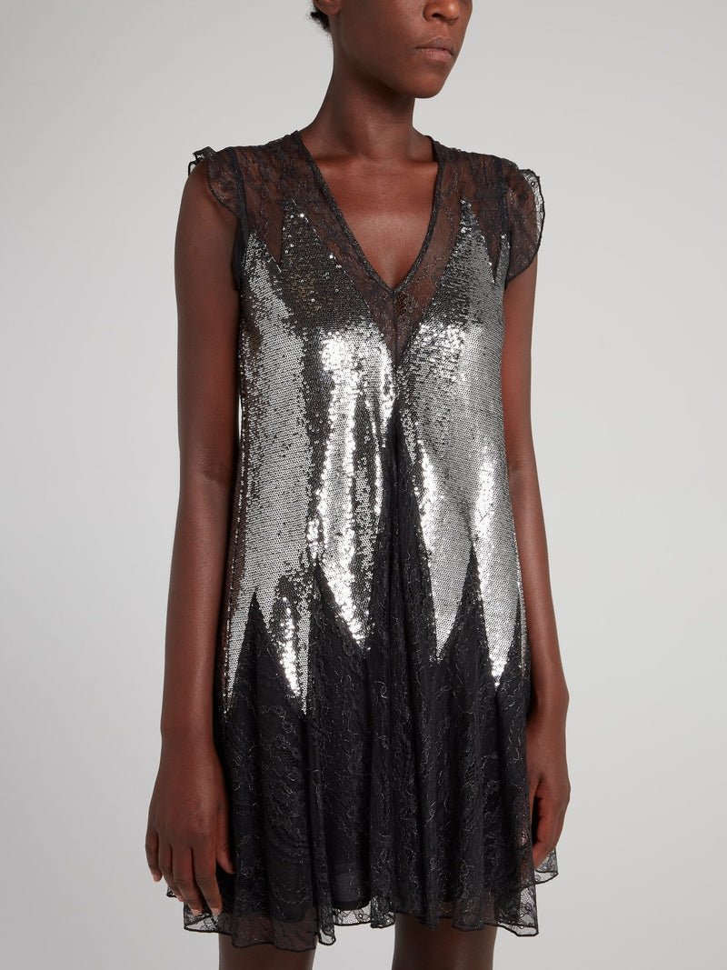 Metallic Sequin Lace Mini Dress