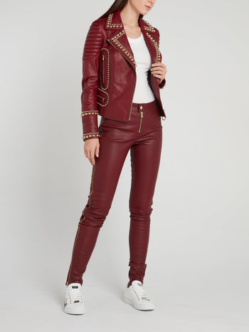 Denetra Embellished Leather Biker Jacket