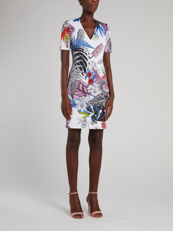 White Tropical Print Mini Dress