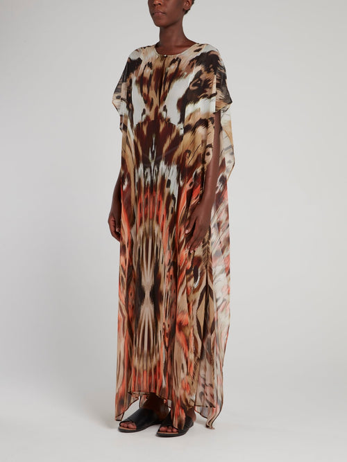Brown Patterned Flounce Dress