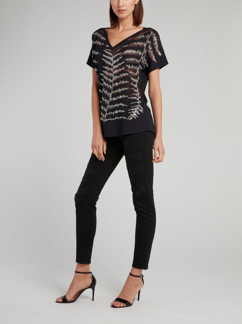 Black Studded V-Neck Shirt
