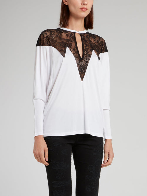 White Lace Panel Keyhole Top