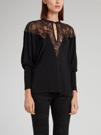 Black Lace Panel Keyhole Top