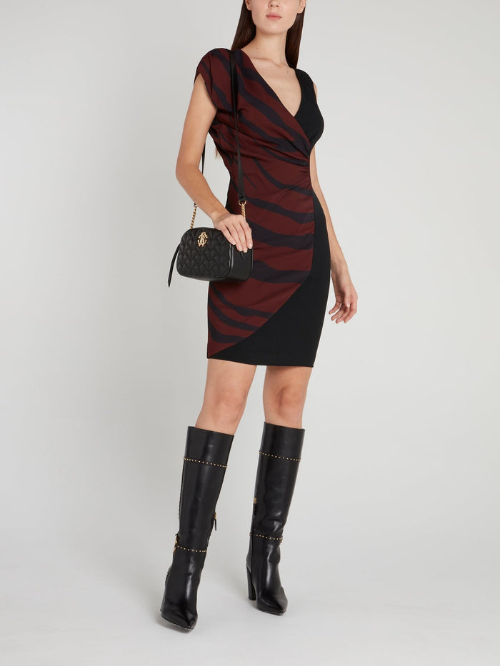Black Stripe Panel Ruched Mini Dress