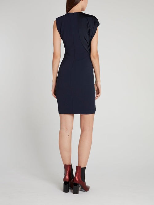 Navy Floral Panel Ruched Mini Dress