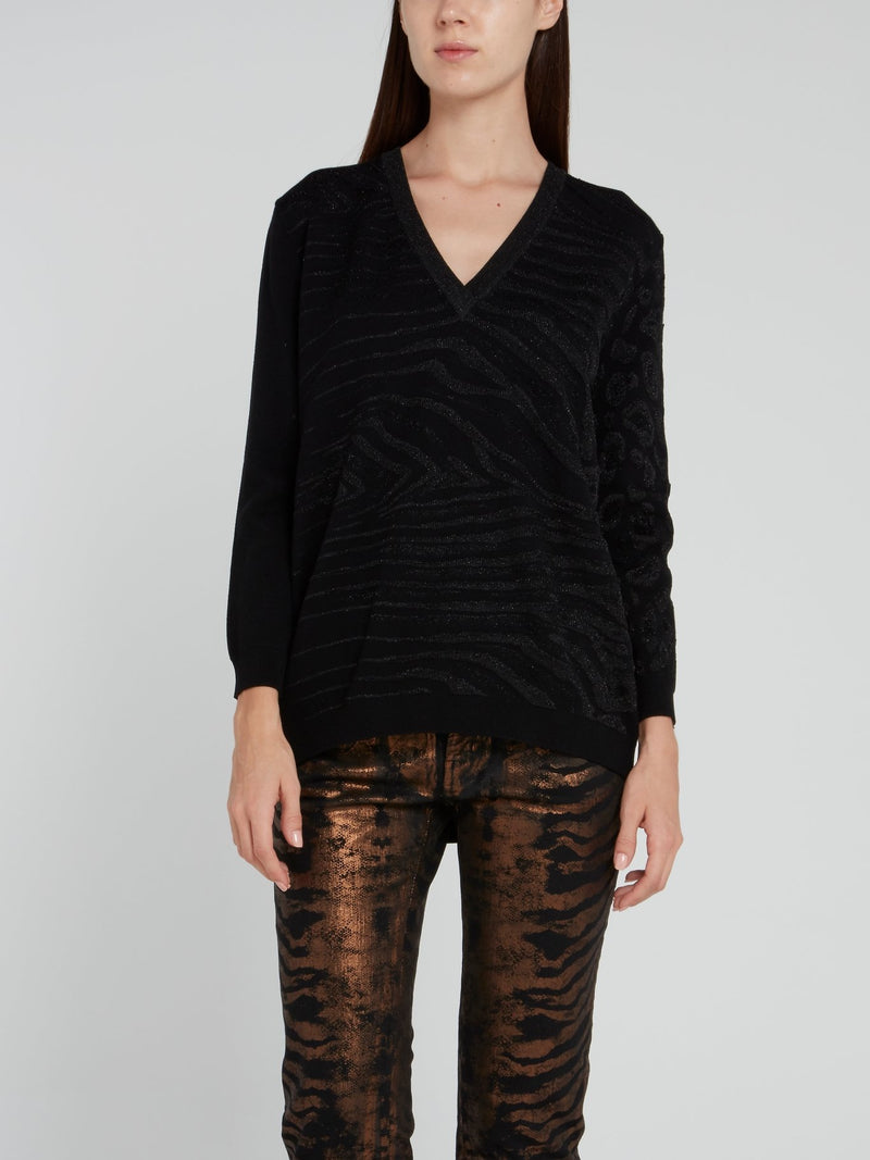Black Glitter Fabric V-Neck Pullover