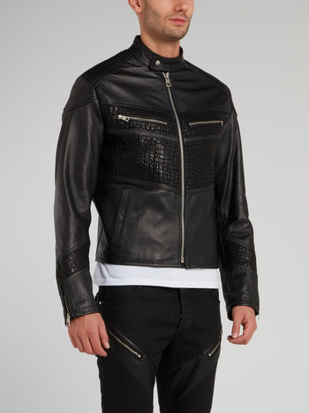Crocodile Panel Leather Sports Jacket