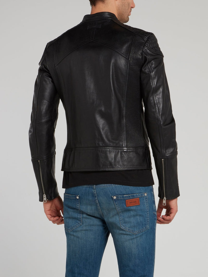 Black Zip Up Moto Jacket