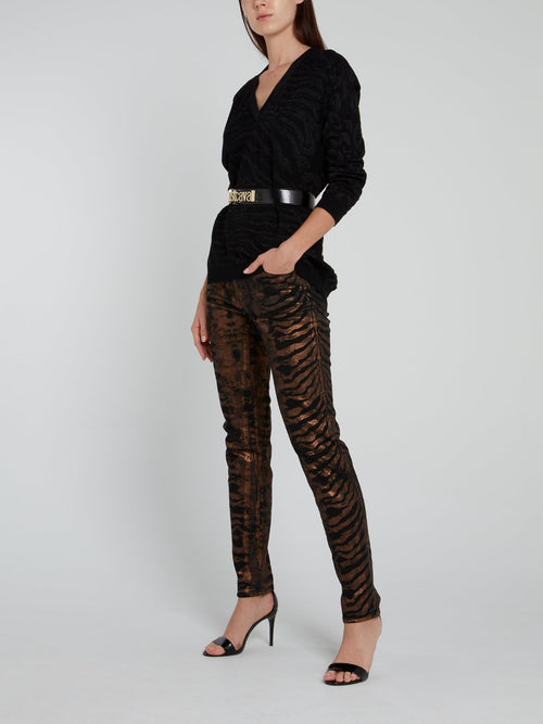Metallic Tiger Effect Trousers