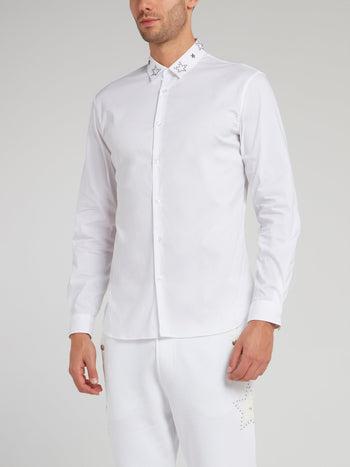 White Star Embellished Collar Shirt