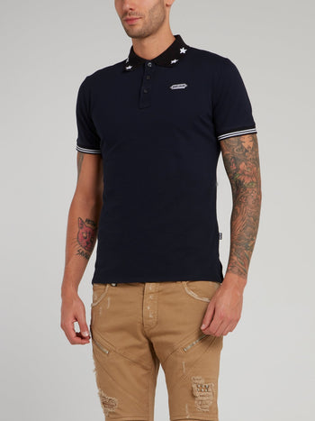 Navy Star Print Collar Polo Shirt