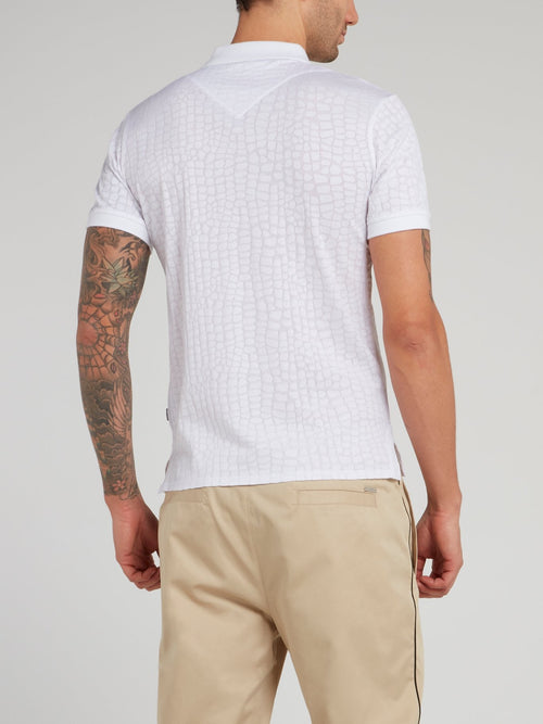 White Crocodile Effect Polo Shirt