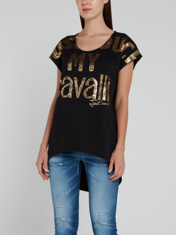 Gold Print Logo High Low Shirt