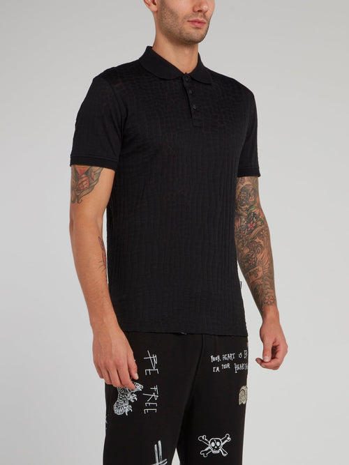 Black Crocodile Effect Polo Shirt