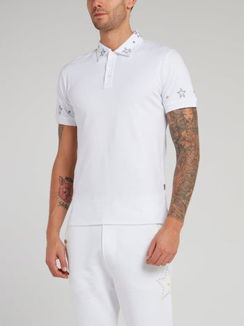 White Studded Star Polo Shirt