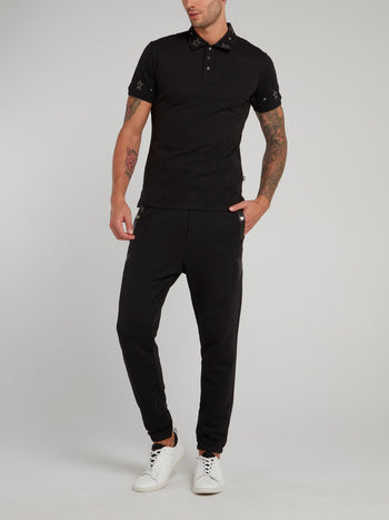 Black Studded Star Polo Shirt