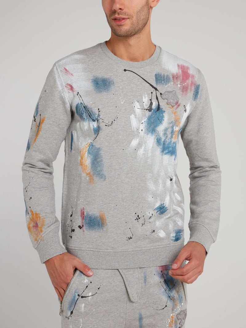 Grey Floral Paint Sweatshirt