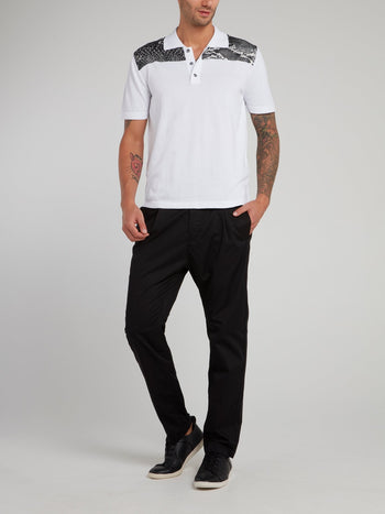 White Snake Print Panel Polo Shirt