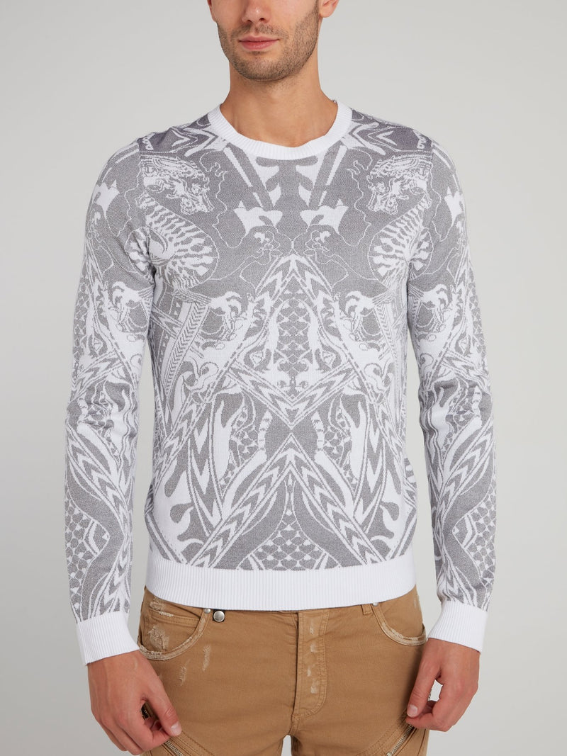White Patterned Pullover