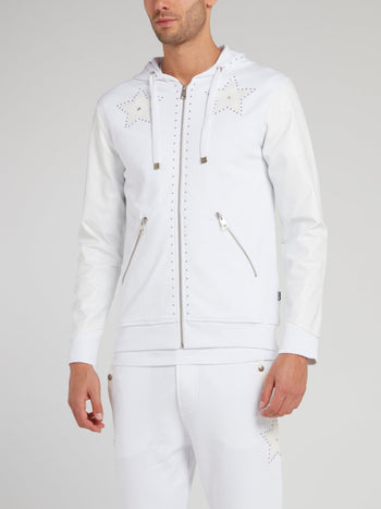 White Leather Sleeve Sweat Jacket