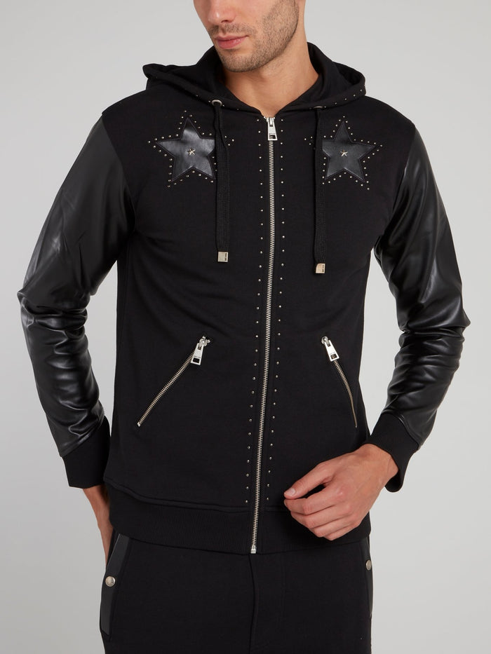 Black Leather Sleeve Sweat Jacket