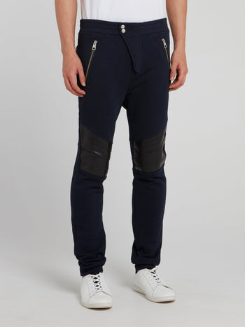 Navy Leather Knee Patch Trousers