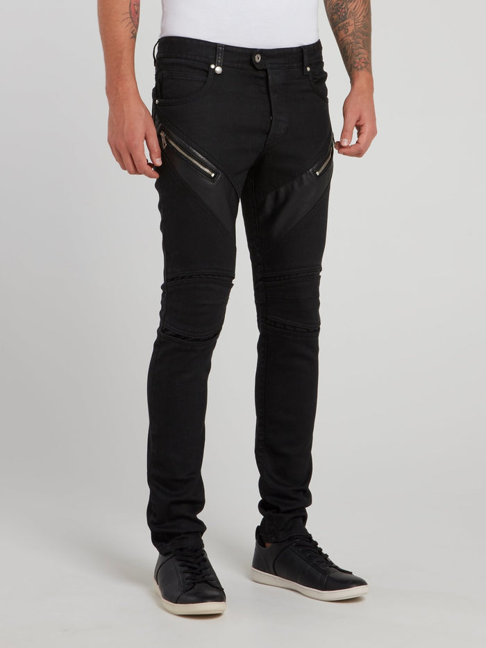 Black Zipper Embellished Trousers