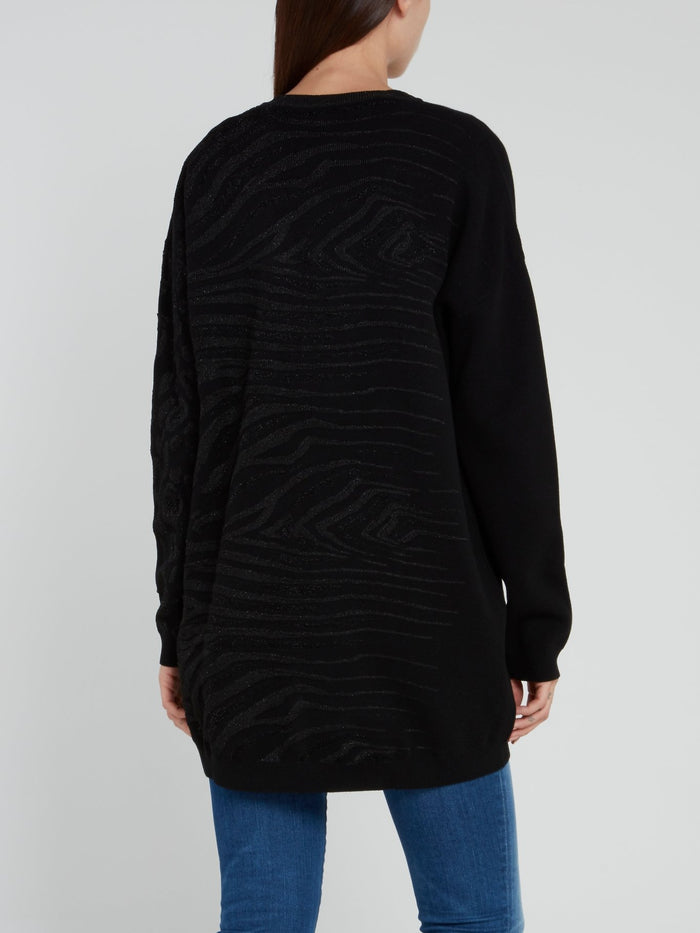 Black Glitter Fabric Pattern Pullover