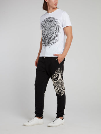Black Printed Drawstring Trousers
