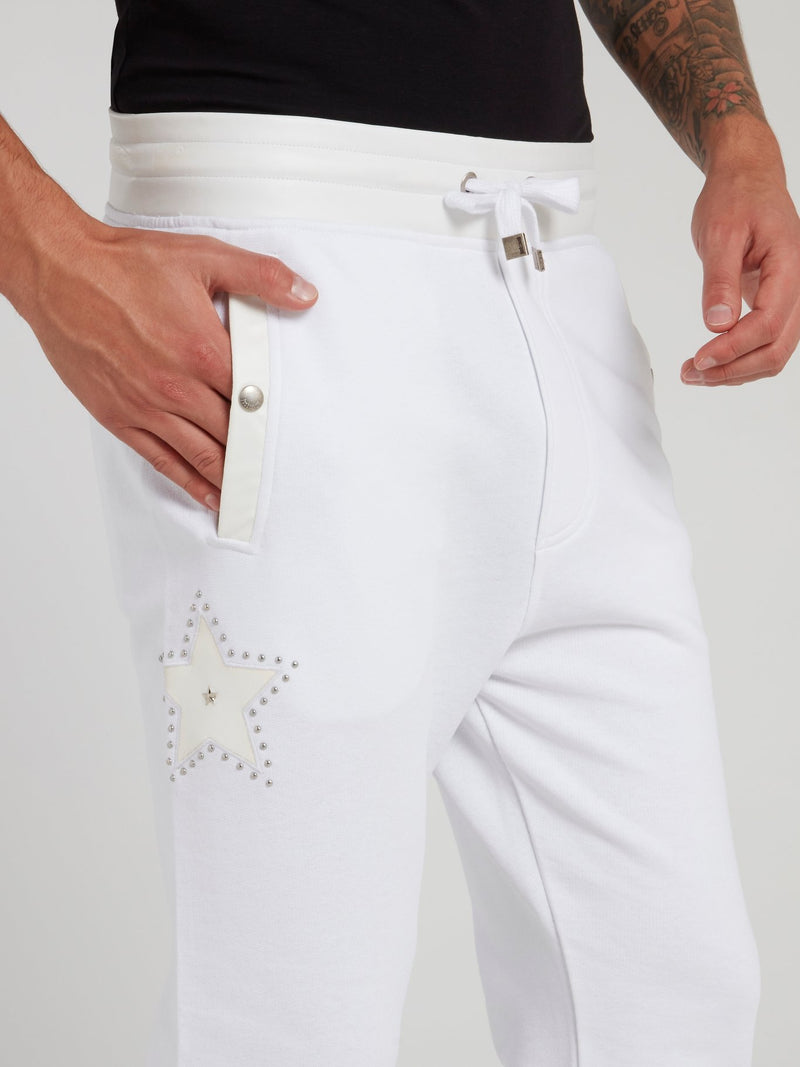 White Leather Panel Track Trousers