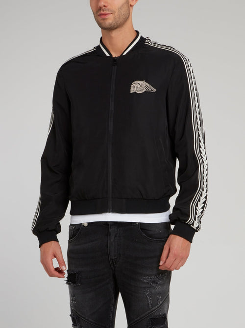 Black Sleeve Stripe Bomber Jacket