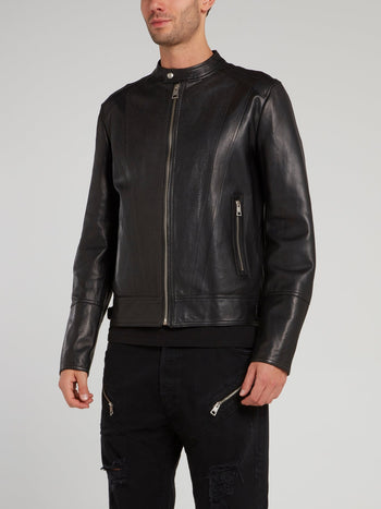 Snake Effect Leather Sports Jacket